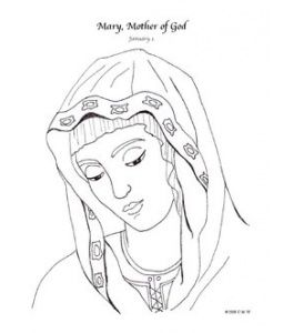 Mary, Mother of God Catholic Coloring Page January 1st