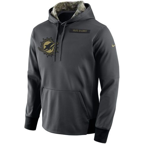 Men s Miami Dolphins Nike Anthracite Salute to Service Player Performance  Hoodie 4cd46e2f2