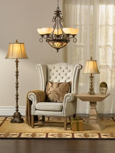 Chandelier table lamp and floor lamp in living room design