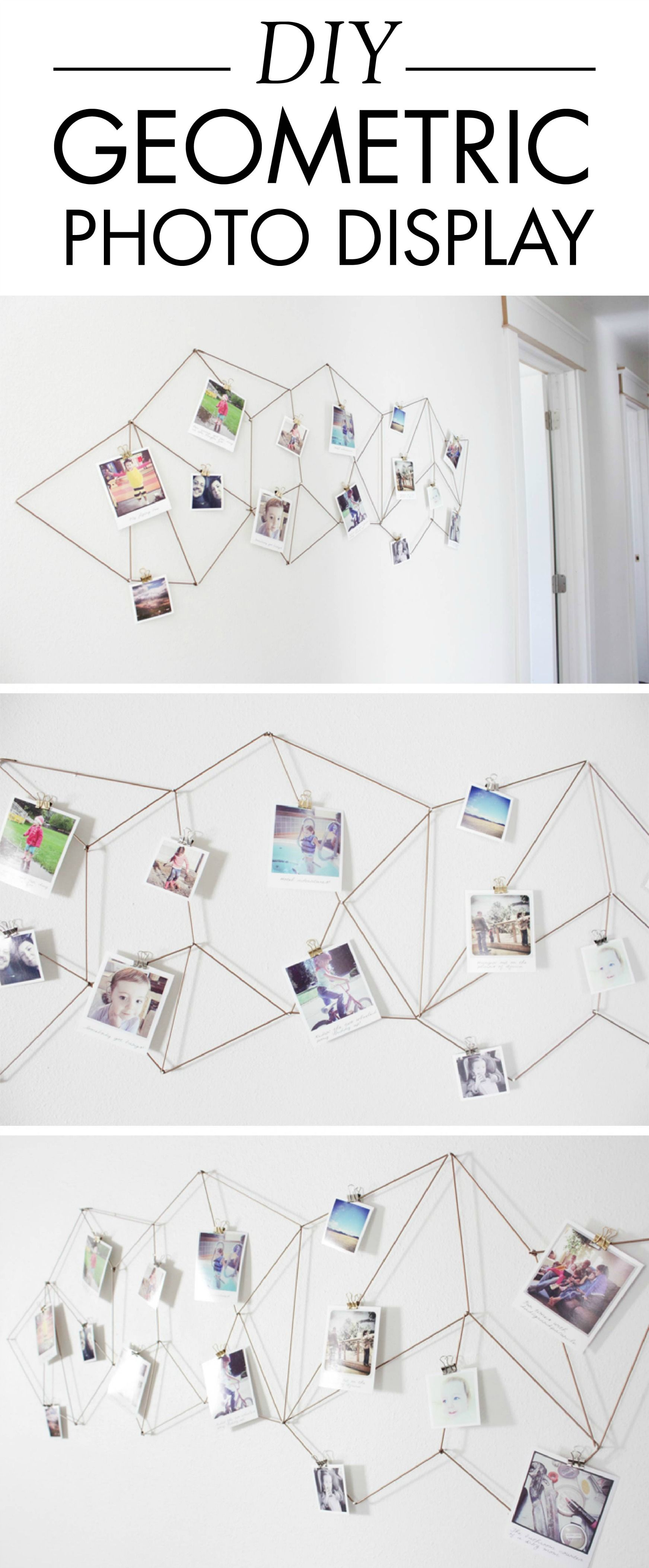 Hang Up Your Personal Photos Or Christmas Cards On This DIY Geometric  Display. This Home