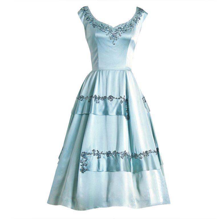 1950\'s Vintage Harvey Berin Designer-Couture Rhinestone Baby-Blue ...