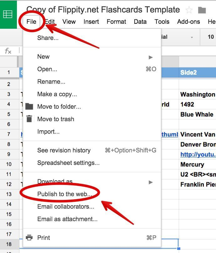 A Step By Step Guide On How to Create Flashcards Using Google - google docs spreadsheet
