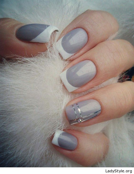 Grey Manicure With White Tips Ladystyle Trendy Nail Art August Nails Manicure