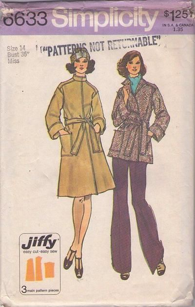 MOMSPatterns Vintage Sewing Patterns - Simplicity 6633 Vintage 70's Sewing Pattern SUPER Easy Jiffy Stand Up Nehru Collar Bell Cuff Sleeves ...
