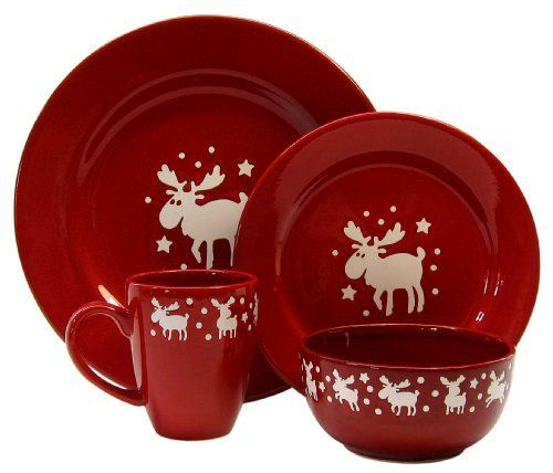 Waechtersbach Holiday Emma Dinnerware Place Setting Service for Cherry with White Moose by Waechtersbach LOVE? ? ? ? ? ? ? ??  sc 1 st  Pinterest & Waechtersbach Holiday Emma 16-Piece Dinnerware Place Setting ...