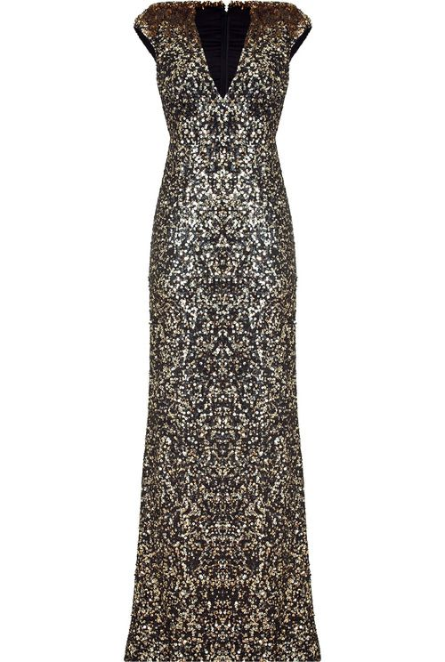 Jenny Packham Sizzle Look Here Black And Gold Sequin Gown Life