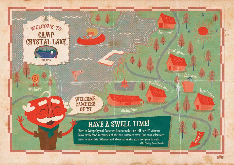 camp crystal lake map Friday The 13th Camp Crystal Lake Print By Muteart On Etsy camp crystal lake map