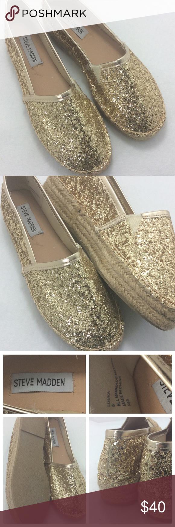 """Steve Madden Luuka Steve Madden Luuka Espadrille, glitter gold finish. 1"""" platform sole. Like new condition. Steve Madden Shoes Espadrilles"""