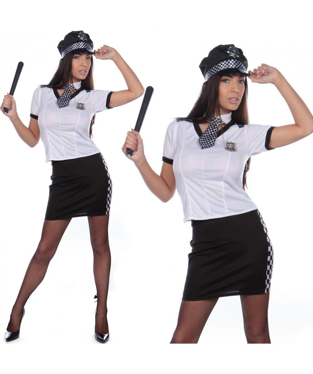 Adult Police Woman Costume Sexy Cop Uniform New Fancy Dress Hen Party