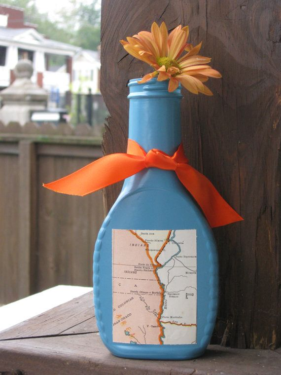 Upcycled painted vase featuring a piece of by UponASunnyDay, $8.00