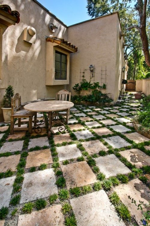 Photo of Square pavers with pampas grass would be perfect for my front patio area.