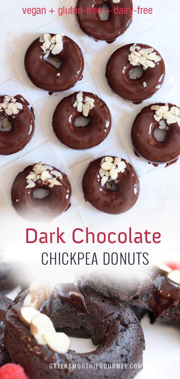 Dark Chocolate Chickpea Protein Donuts - Green Smoothie Gourmet