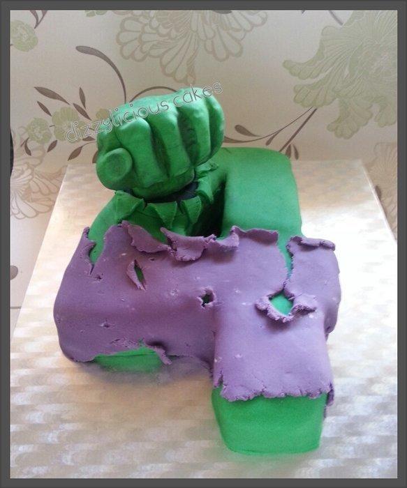 Hulk Number 4 Cake
