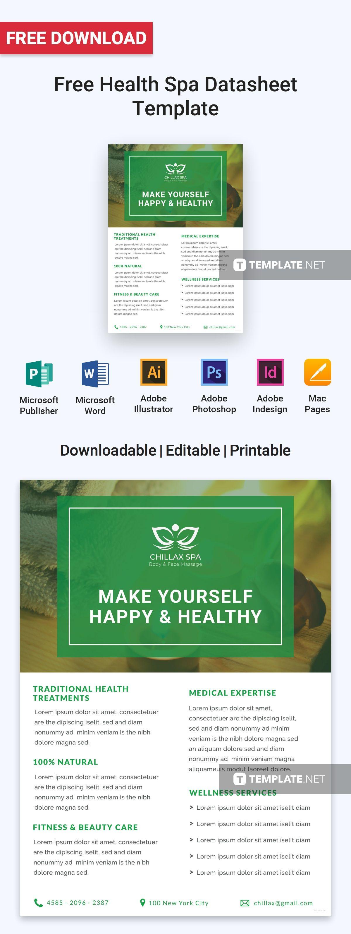 Free Health Spa Datasheet | Pinterest