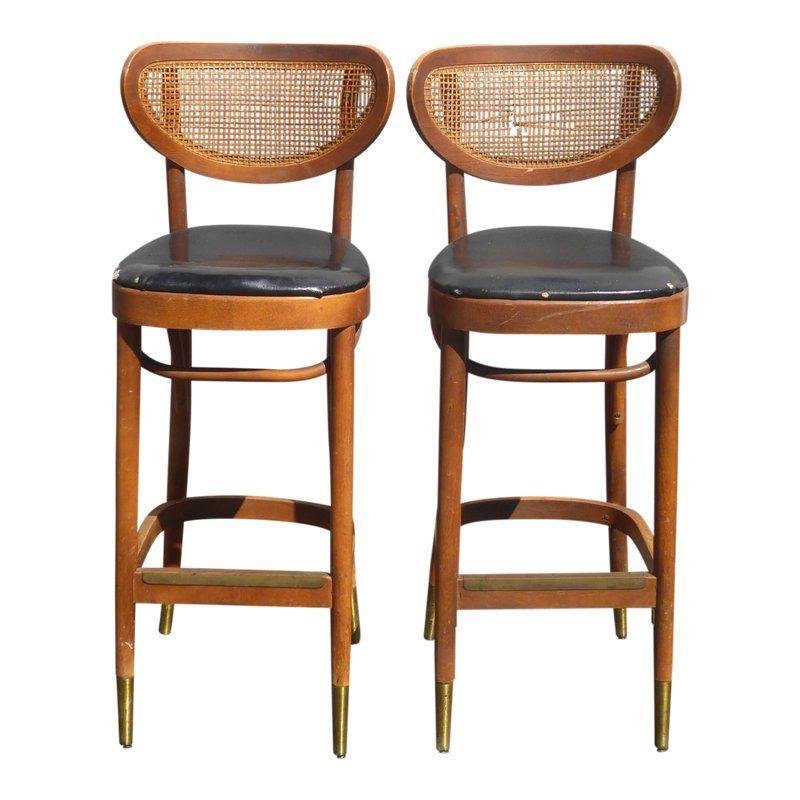 Pleasant Vintage Mid Century Danish Modern Cane Black Barstools W Short Links Chair Design For Home Short Linksinfo