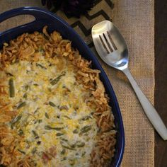 Loaded Green Bean Casserole Recipe Side Dishes with Del Monte Green Beans, Campbell's Condensed Cream of Mushroom Soup, french's french fried onions, shredded cheddar cheese, bacon, sour cream, onions, worcestershire sauce