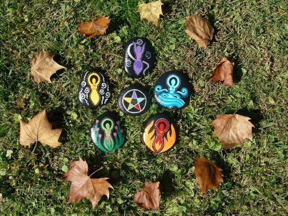 Made to Order 5 Goddess Elemental Stones with by MarciaStewartArt