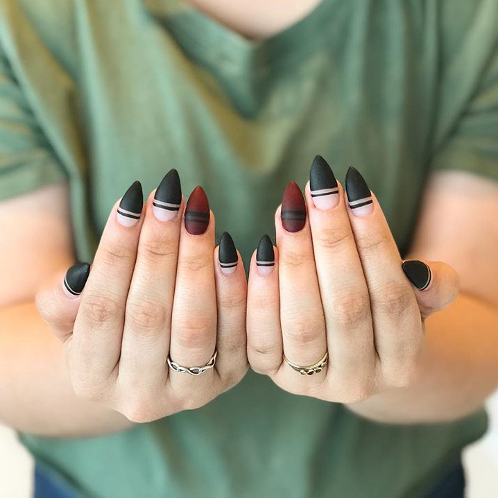 Fierce black and red stiletto tips, perfect for a night out! Nail ...