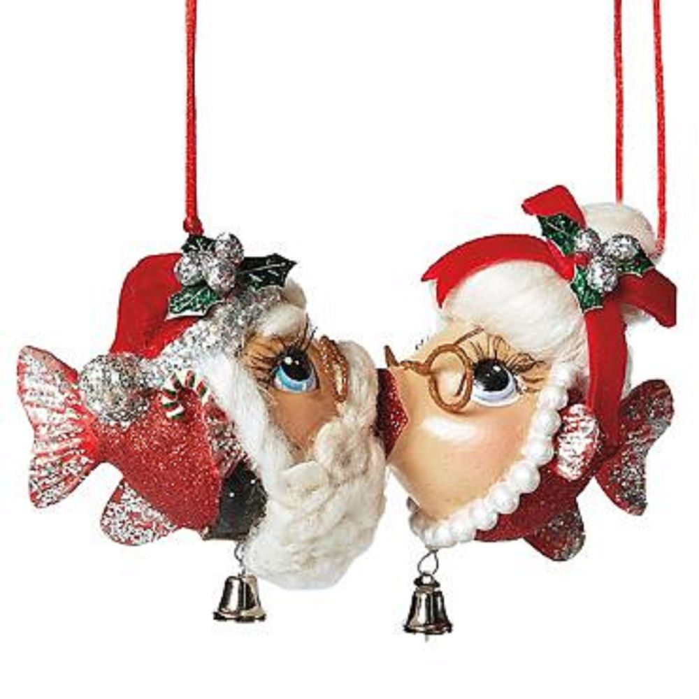 Mr and mrs claus ornaments - Mr Mrs Kissing Santa Claus Ornaments Christmas Holiday Tropical Fish Beach Sun