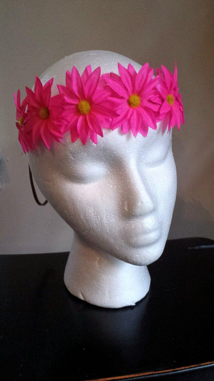 Neon Pink Daisy Headband Flower Crown Flower Headband Rave