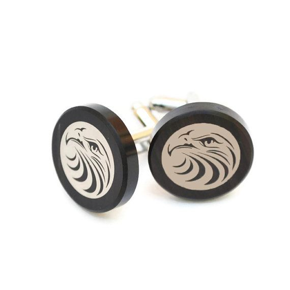 gift for men FREE SHIPPING groom gift made with obsidian,gift box included damask print custom cufflinks Radiation Sign cufflink
