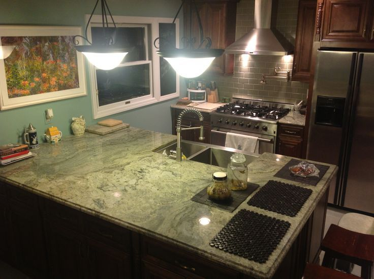Surf green granite countertop reliance granite and for Kitchen designs namibia