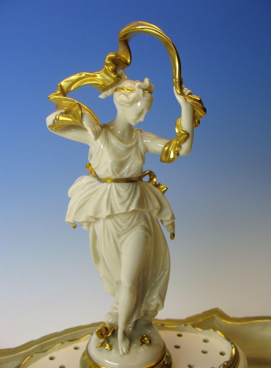 Big Capodimonte porcelain gilded Goddess flower frog