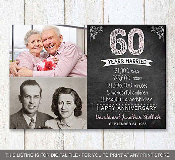 Diamond Wedding Anniversary Gifts For Grandparents: 60th Anniversary Photo Gift For Parents Wife Husband