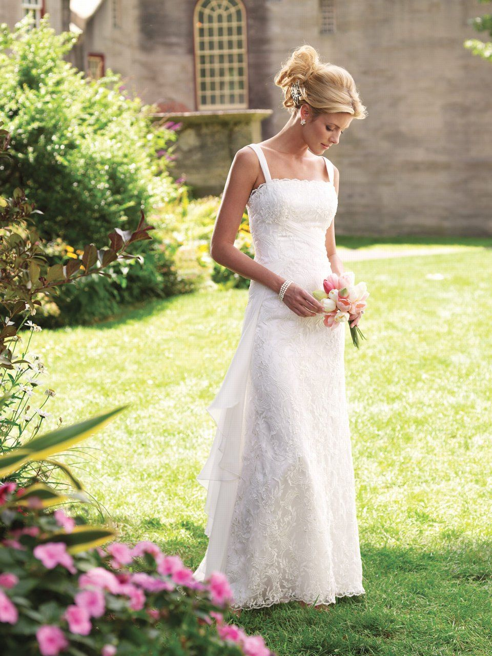 Sheathcolumn spaghetti straps floorlength lace chiffon wedding