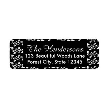 Black and White Floral Personalized Label - script gifts template
