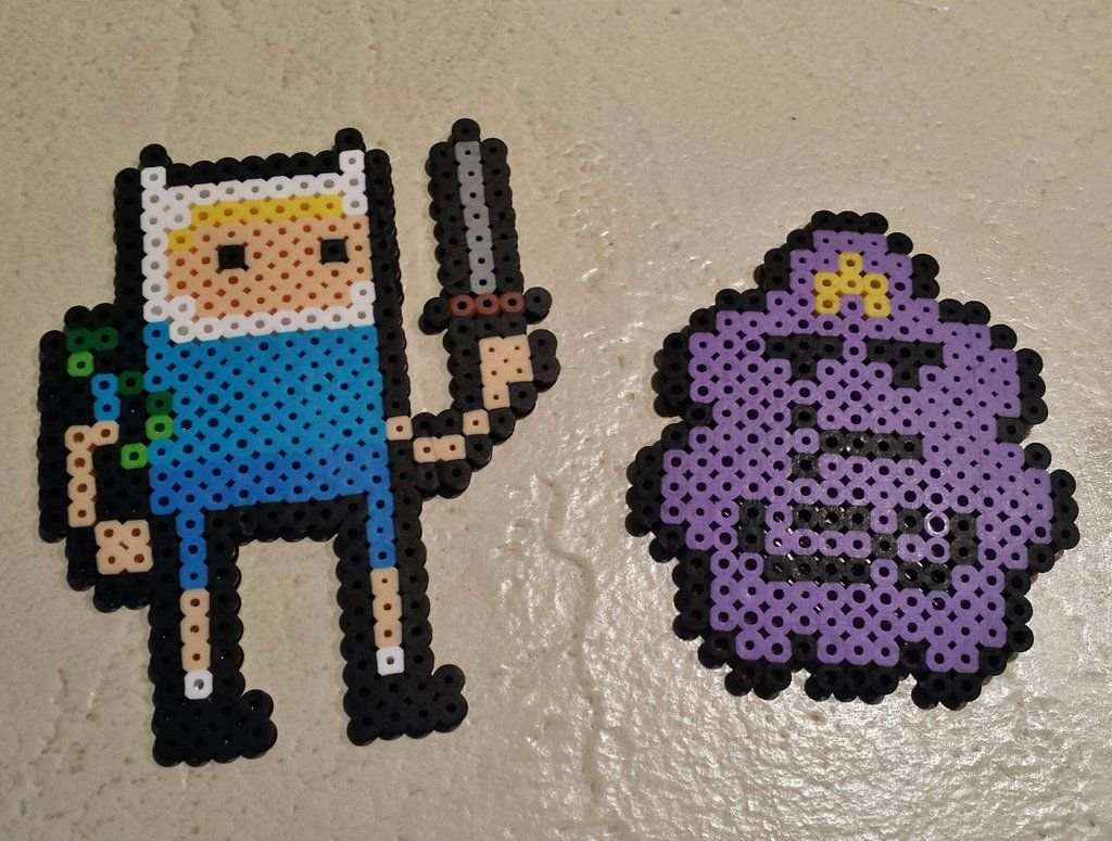 Finn and LSP Adventure Time perler beads by staticjewel on deviantART