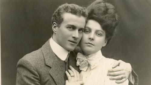 Australian speech therapist Lionel Logue with Myrtle Gruenert at the time of their engagement in Perth, Australia, 1906.
