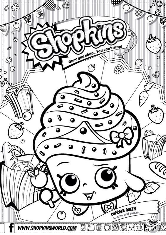 Shopkins Colour Color Page Cupcake Queen Shopkinsworld With