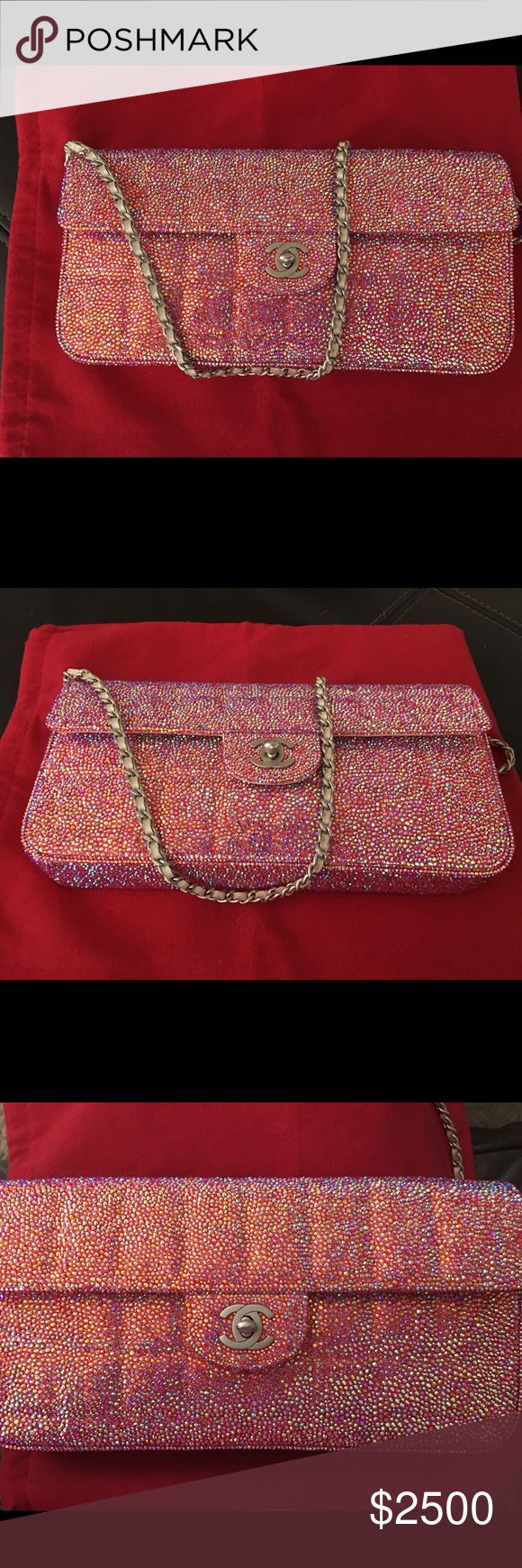 dc0fe4b71681 Authentic Chanel Swarovski crystal flap bag The chanel bag was customized  with pink Swarovski crystals!