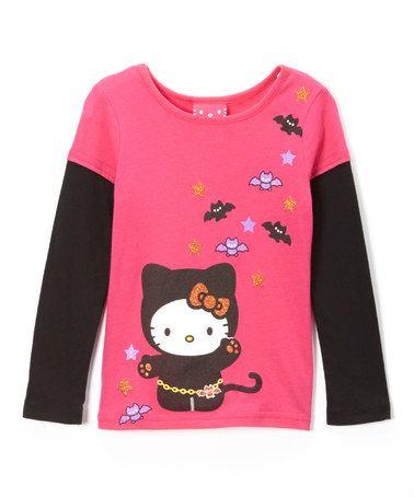 Loving this Cerise  Black Hello Kitty Bats Layered Tee - Girls on - hello kitty halloween decorations