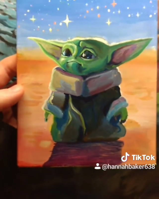 Baby Yoda Video Star Wars Painting Yoda Drawing Yoda Canvas