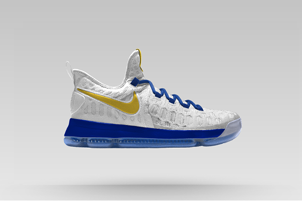 341af6739cd8 KD 9 IX Flyknit Warriors Home White Blue Gold. Hot 2017 NBA Playoffs Shoes  ...