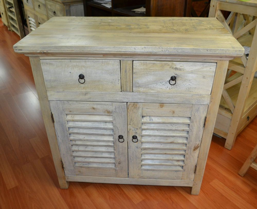 French Provincial Mango Wood small buffet sideboard louver doors