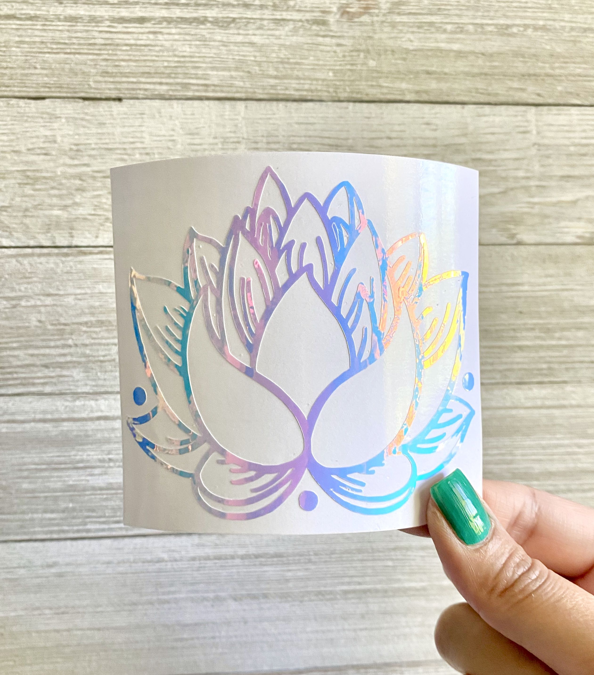 Holographic Lotus Flower Decal Iridescent Vinyl Flower Etsy In 2020 Hand Lettering Cards Cricut Projects Vinyl Holographic