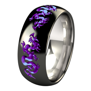 "Liung Black Diamond Plated and Anodized Titanium Wedding Ring.  ""There are no dragons on this list!!""  -Kitchen Nightmares"