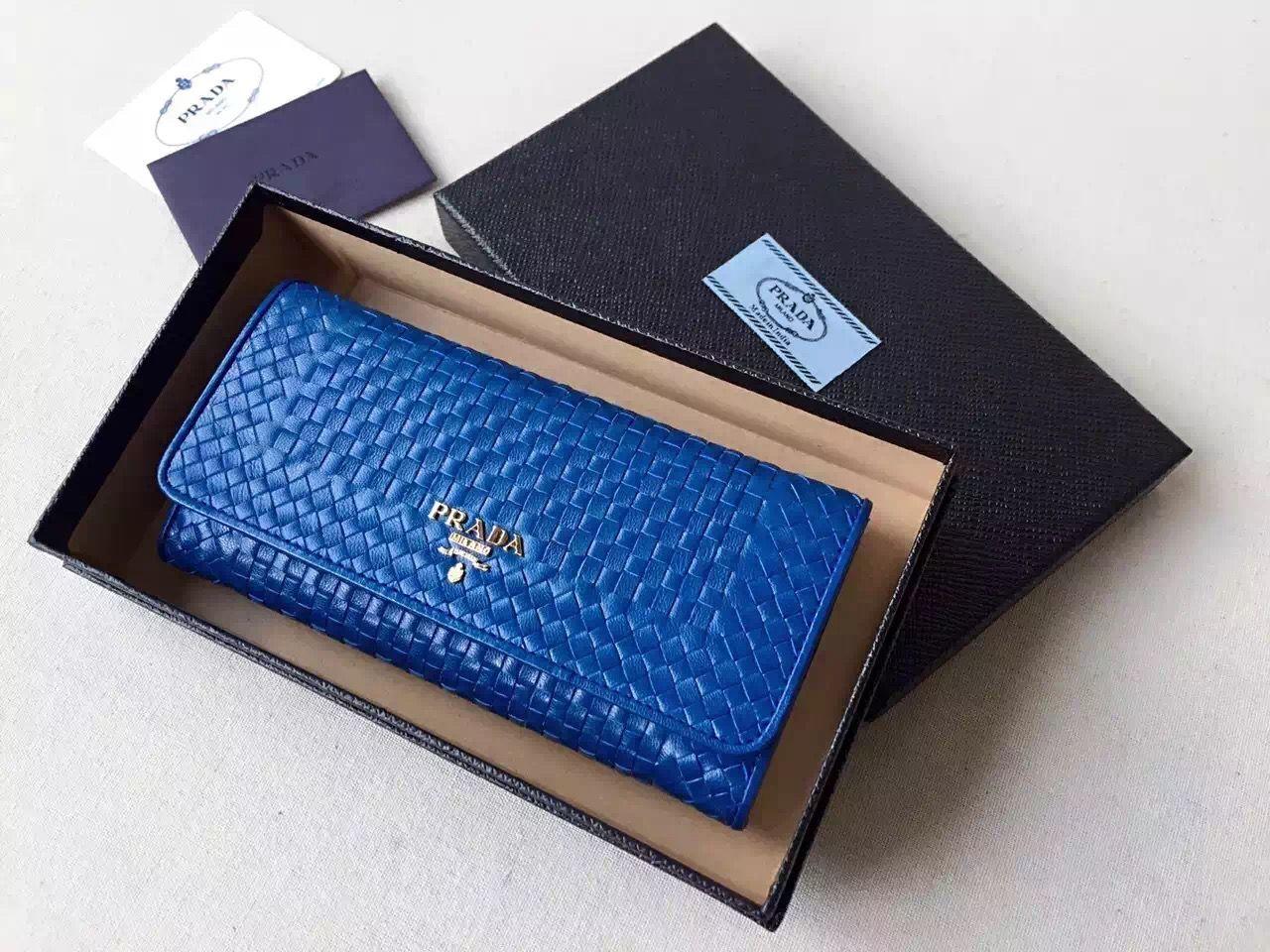 7ff92444a42a Prada 1MH132 Madras Goat Leather Flap Wallet Blue | Prada Bags ...