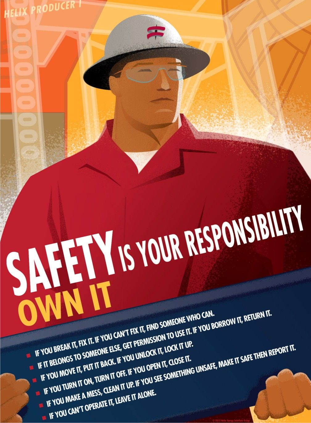 Propaganda looking stuff Health and safety poster