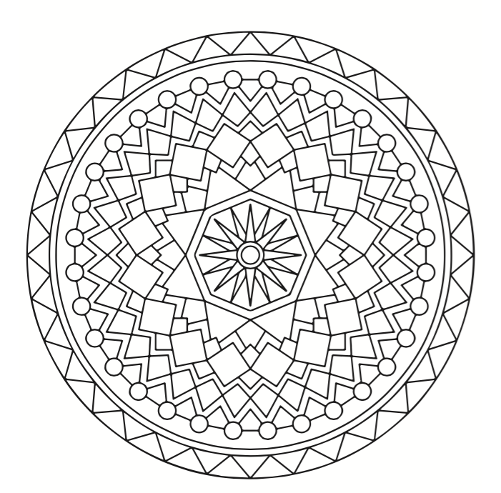 A Recursive Pattern Like Those Found In Mandalas Is Perfect When Using Only A Single Color Mandala Coloring Pages Mandala Coloring Books Mandala Coloring