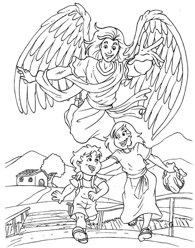 coloring pages of guardian angels - photo#10