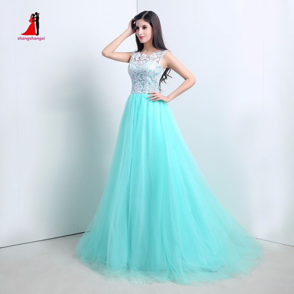 2017 In Stock Cheap Teal Blue Ball Gowns O Neck Top White Lace ...