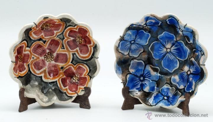 PAREJA PLATOS CERÁMICA CELTA GALLEGA PONTECESURES (Antigüedades - Porcelanas y Cerámicas - España - Platos Antiguos)