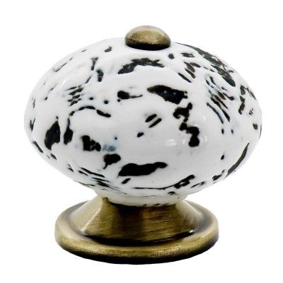 1 Möbelknopf, Möbelgriff, Möbelknopf, Knauf Keramik 40 mm, white antique #3410 – Bild 1