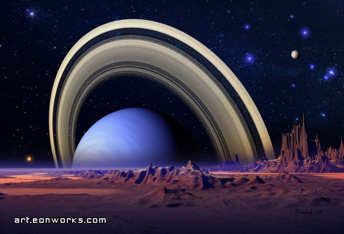 Space art with ringed blue planet poster #spaceart | Space art ...