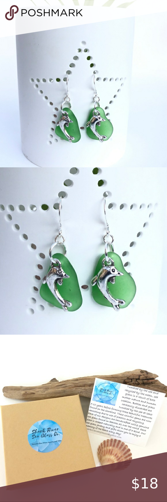 NEW Genuine Green Sea Glass Dolphin Earrings NEW G