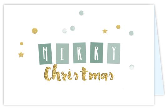 Unieke liggende kerstkaart met gouden tekst (look) in hippe brush fonts (geen echt goud inkt). Groene confetti en sterretjes en dots met tevens een gouden look.